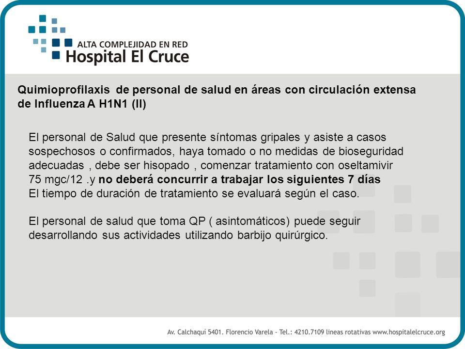 Quimioprofilaxis de personal de salud en áreas con circulación extensa de Influenza A H1N1 (II)