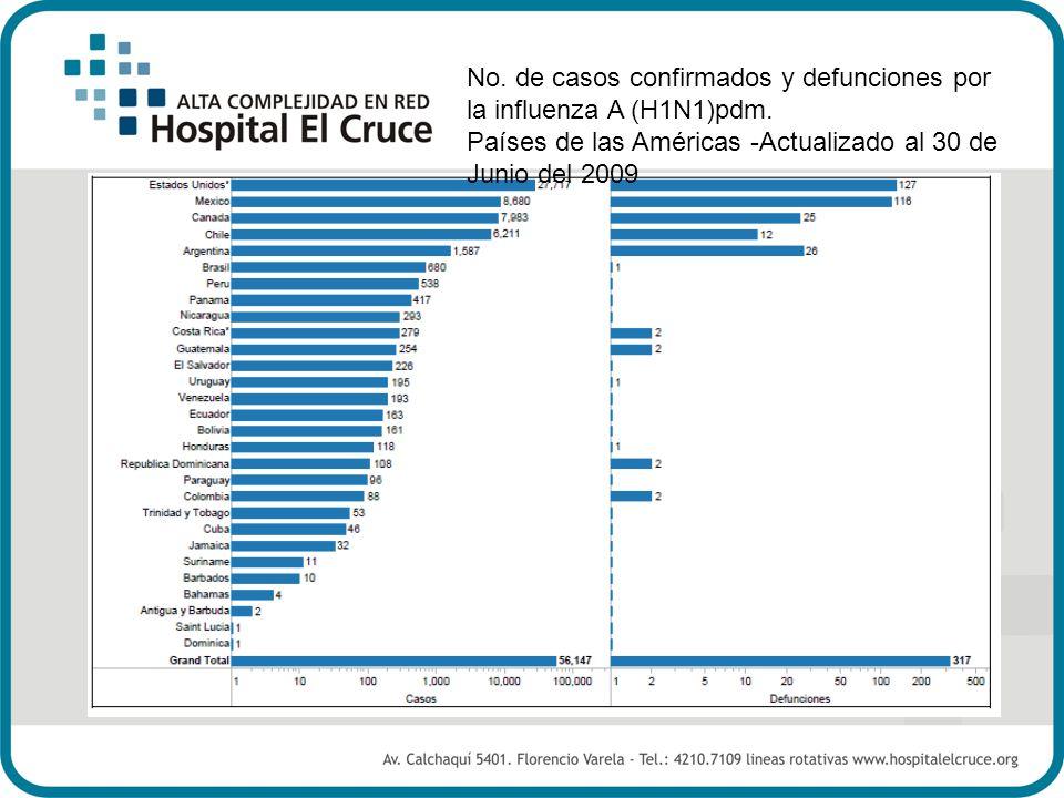 No. de casos confirmados y defunciones por la influenza A (H1N1)pdm.
