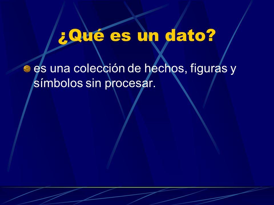 ¿Qué es un dato es una colección de hechos, figuras y símbolos sin procesar.