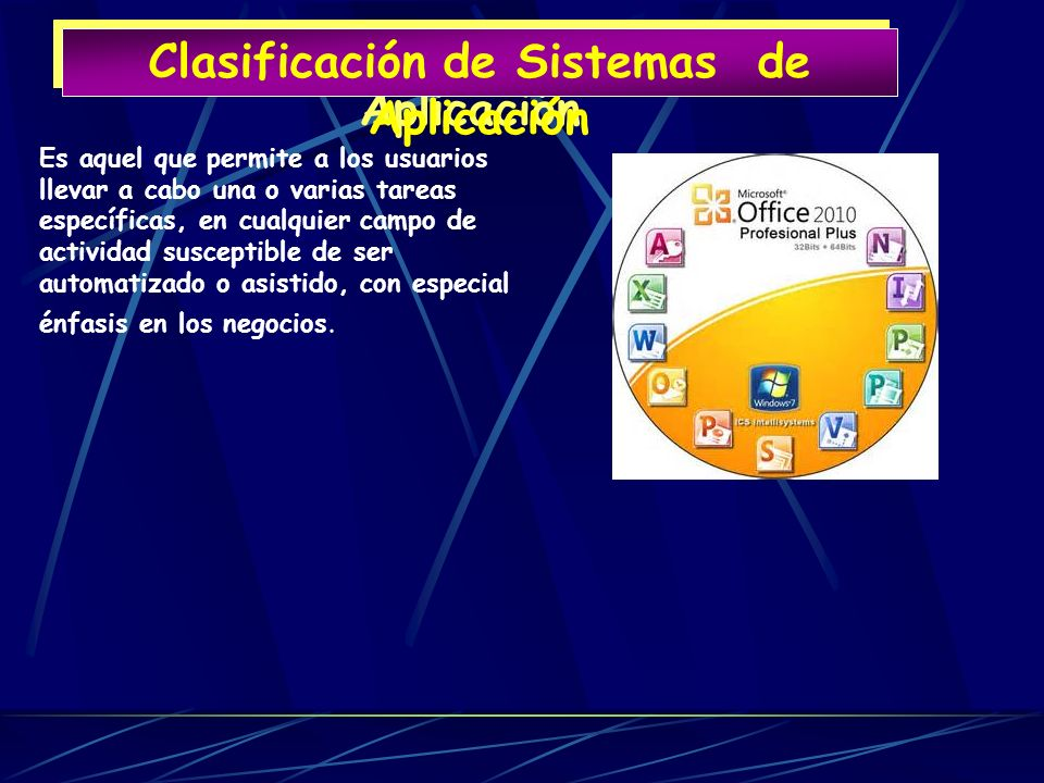 Clasificación de Sistemas de Aplicación