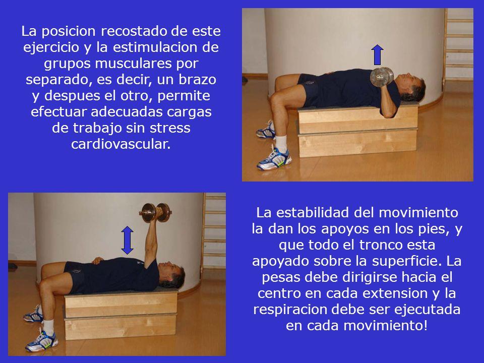 La posicion recostado de este ejercicio y la estimulacion de grupos musculares por separado, es decir, un brazo y despues el otro, permite efectuar adecuadas cargas de trabajo sin stress cardiovascular.