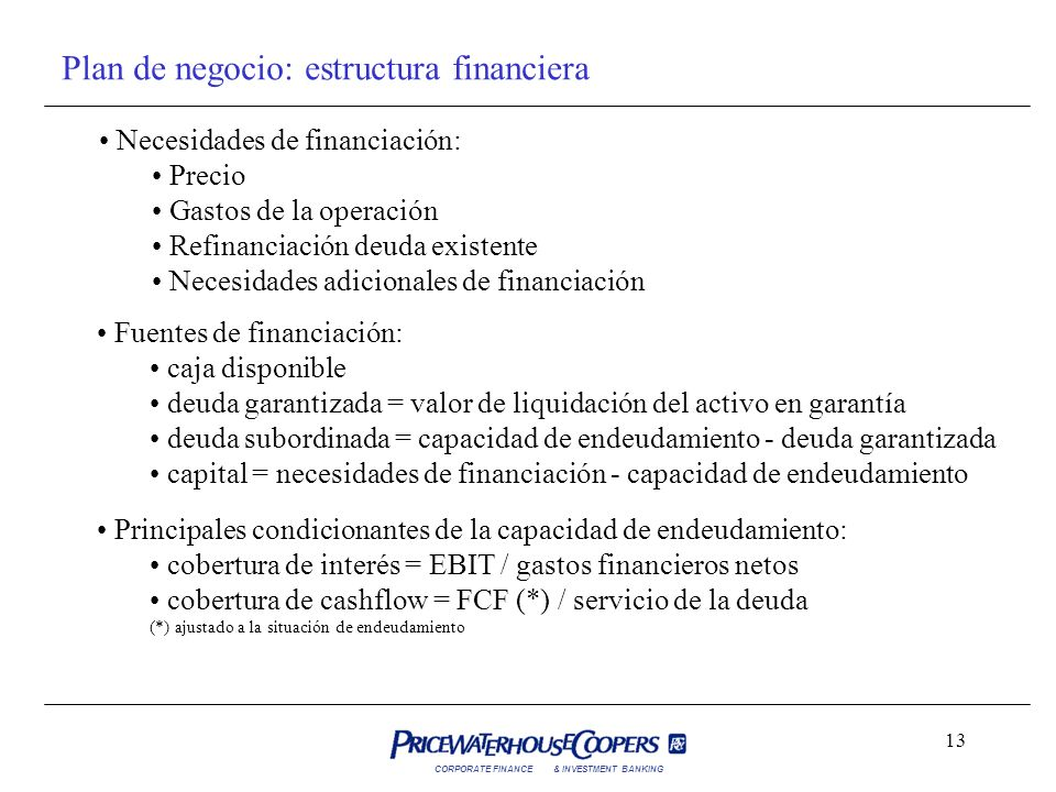 Plan de negocio: estructura financiera