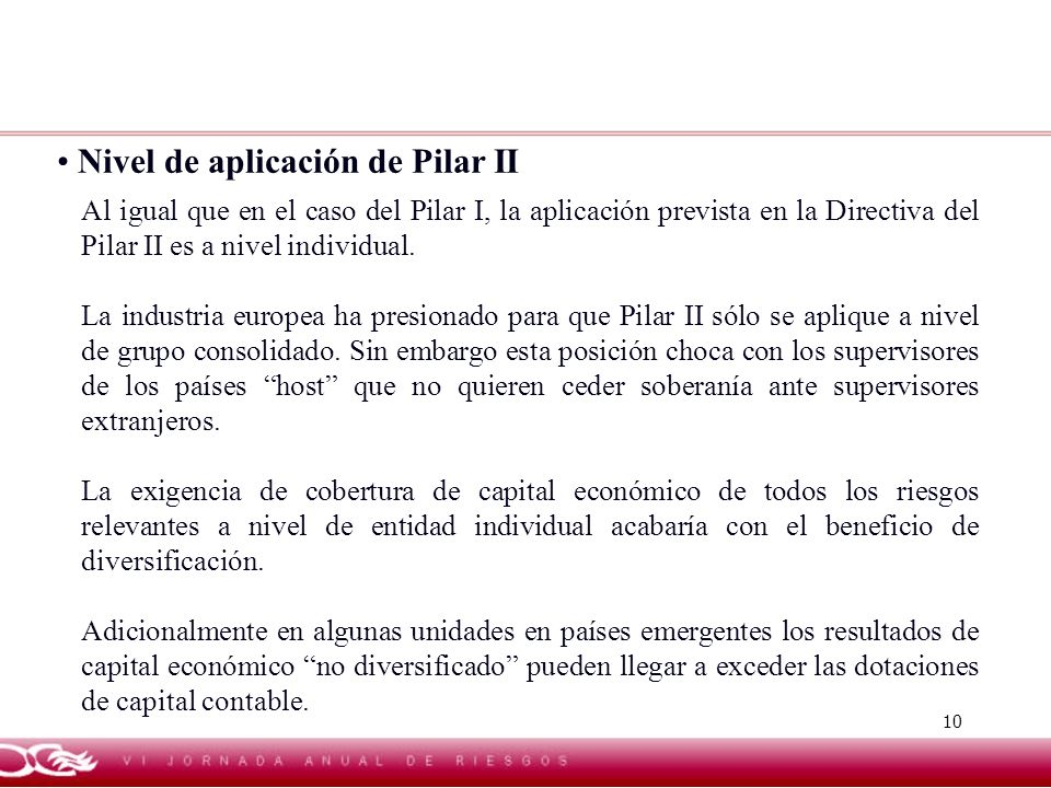 Nivel de aplicación de Pilar II