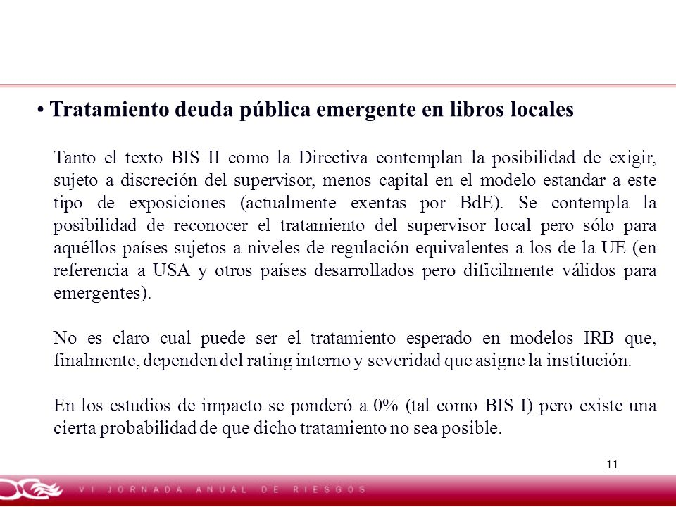 Tratamiento deuda pública emergente en libros locales