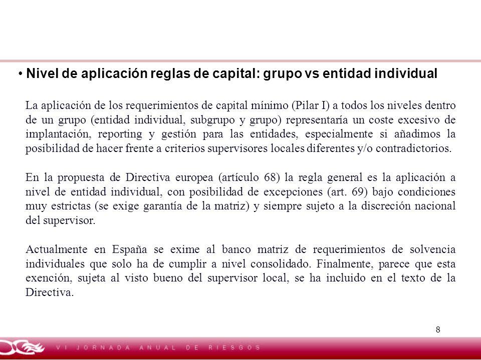 Nivel de aplicación reglas de capital: grupo vs entidad individual