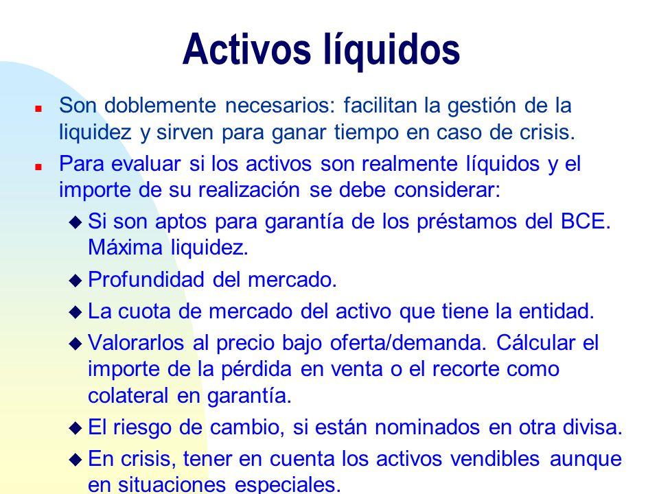 Activos líquidos Son doblemente necesarios: facilitan la gestión de la liquidez y sirven para ganar tiempo en caso de crisis.