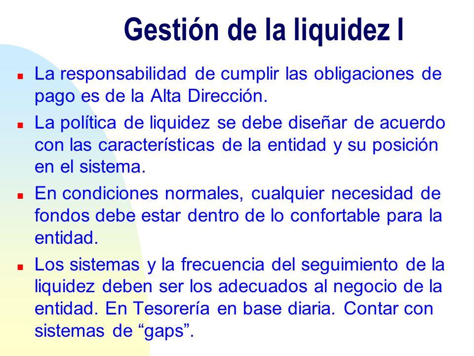 Gestión de la liquidez I