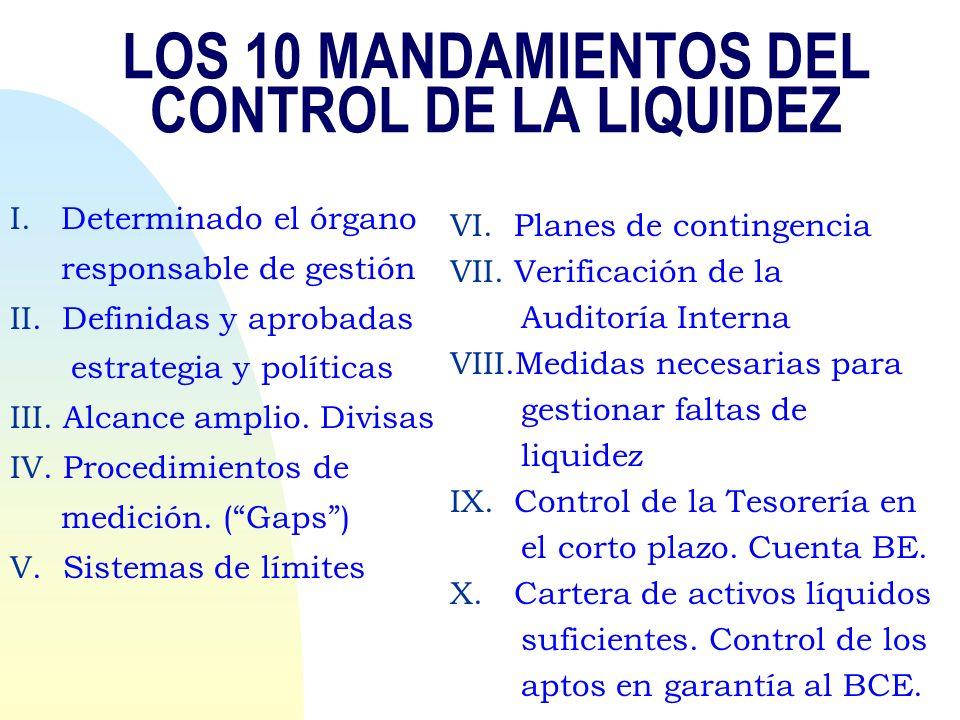LOS 10 MANDAMIENTOS DEL CONTROL DE LA LIQUIDEZ