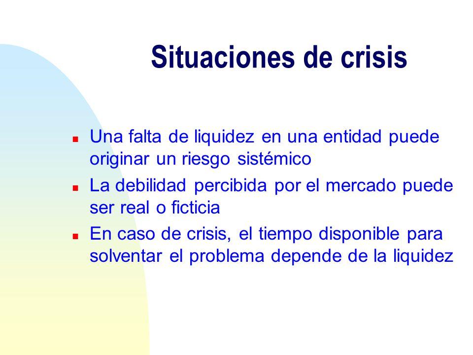 Situaciones de crisis Una falta de liquidez en una entidad puede originar un riesgo sistémico.