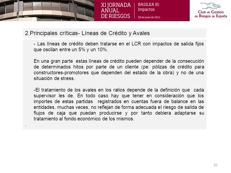 2.Principales críticas- Líneas de Crédito y Avales