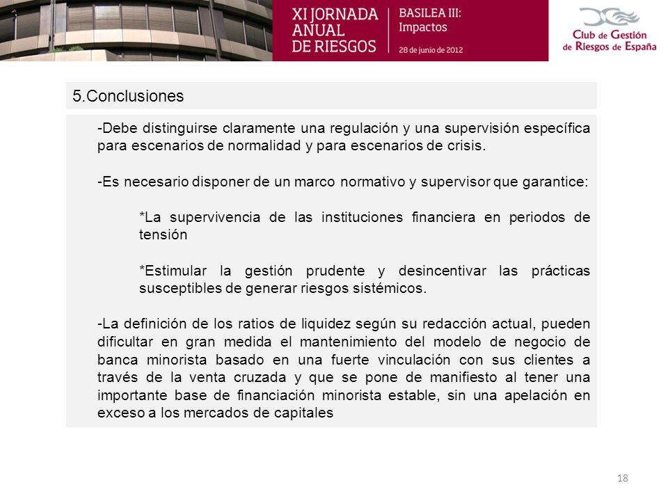 5.Conclusiones -Debe distinguirse claramente una regulación y una supervisión específica para escenarios de normalidad y para escenarios de crisis.