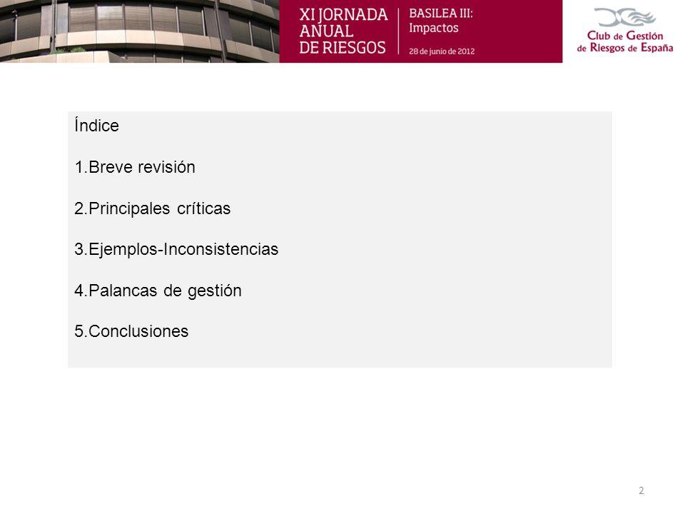 Índice 1.Breve revisión. 2.Principales críticas. 3.Ejemplos-Inconsistencias. 4.Palancas de gestión.