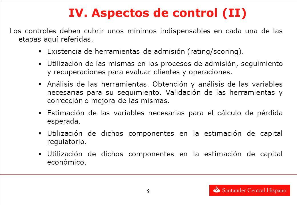 IV. Aspectos de control (II)