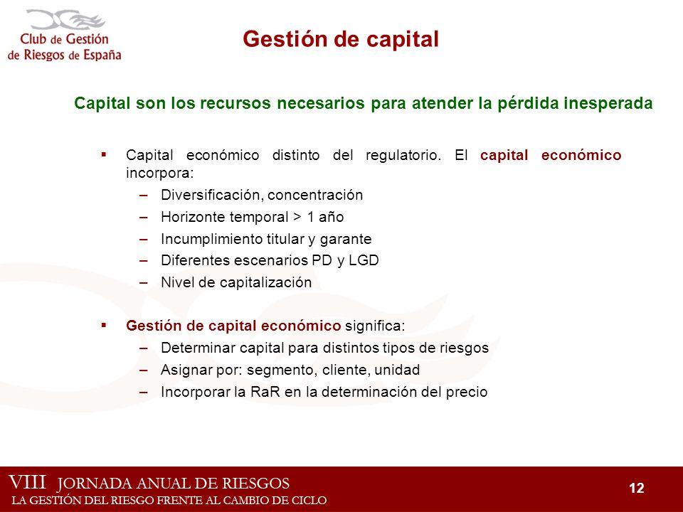 Gestión de capital Capital son los recursos necesarios para atender la pérdida inesperada.