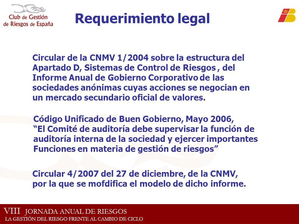 Requerimiento legal Circular de la CNMV 1/2004 sobre la estructura del