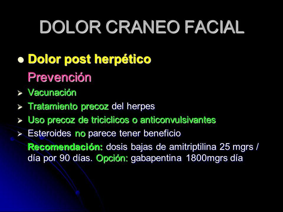 DOLOR CRANEO FACIAL Dolor post herpético Prevención Vacunación