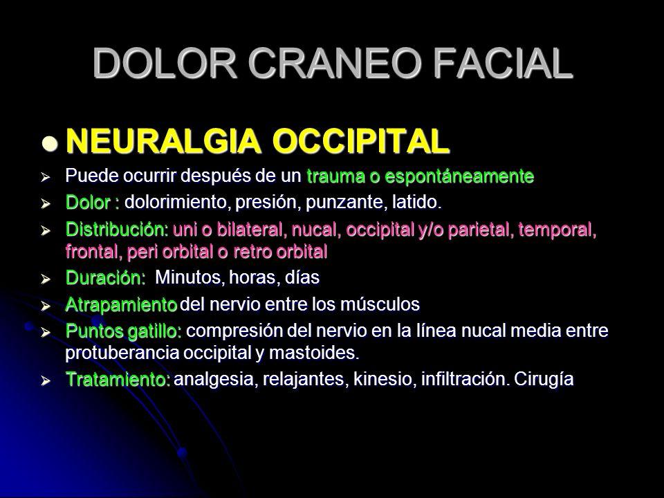 DOLOR CRANEO FACIAL NEURALGIA OCCIPITAL
