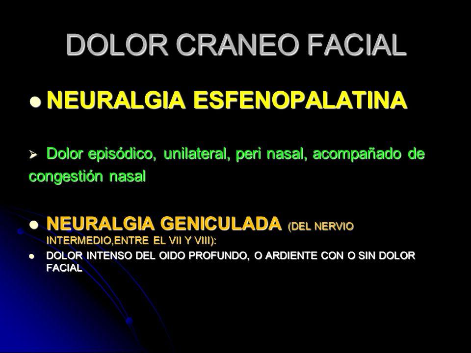 DOLOR CRANEO FACIAL NEURALGIA ESFENOPALATINA