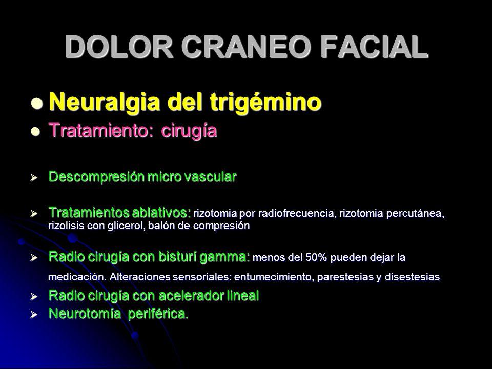 DOLOR CRANEO FACIAL Neuralgia del trigémino Tratamiento: cirugía