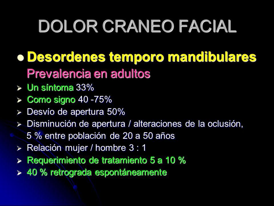 DOLOR CRANEO FACIAL Desordenes temporo mandibulares