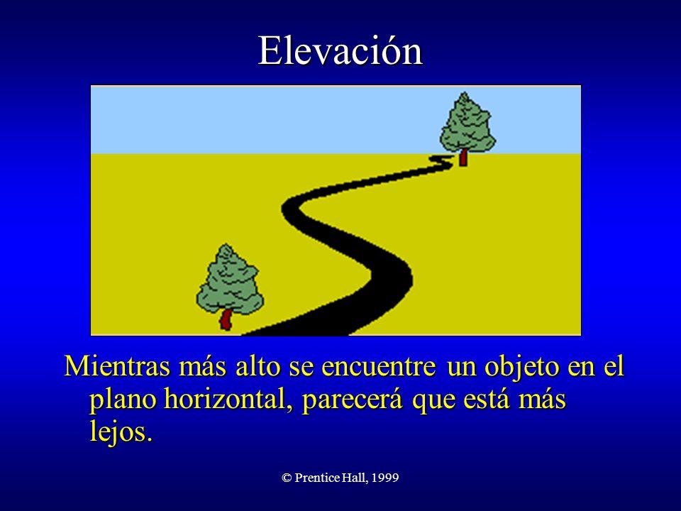 Elevación Mientras más alto se encuentre un objeto en el plano horizontal, parecerá que está más lejos.