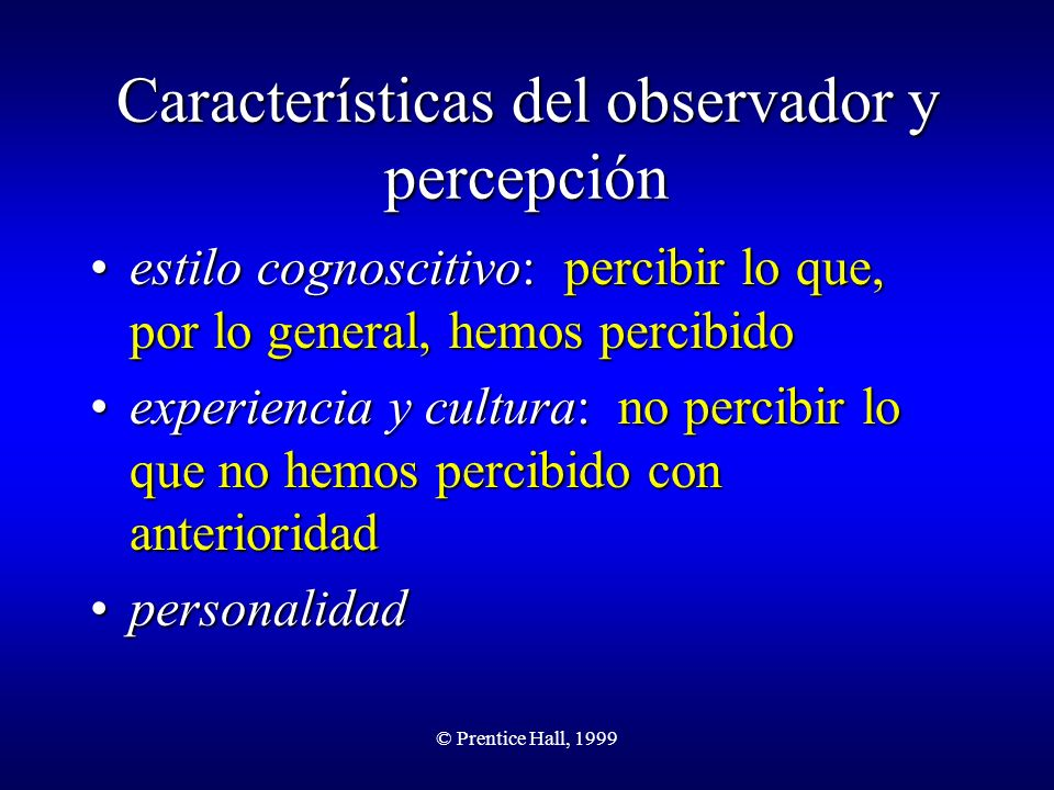Características del observador y percepción