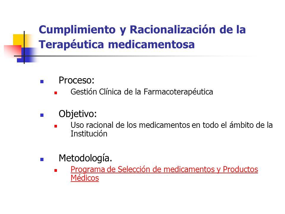 Cumplimiento y Racionalización de la Terapéutica medicamentosa