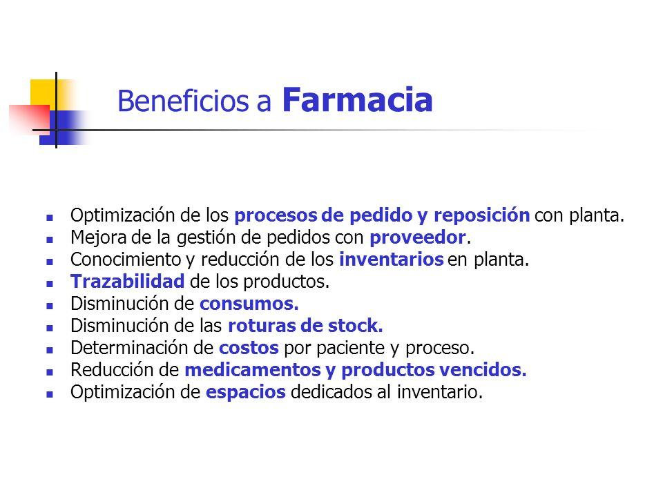 Beneficios a Farmacia Optimización de los procesos de pedido y reposición con planta. Mejora de la gestión de pedidos con proveedor.