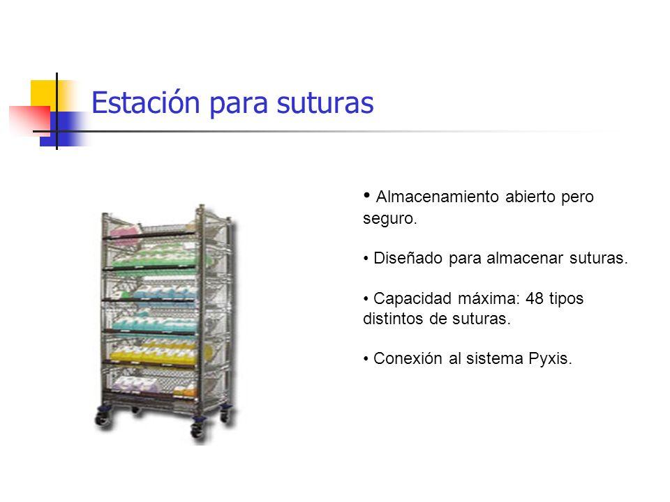 Estación para suturas Almacenamiento abierto pero seguro.