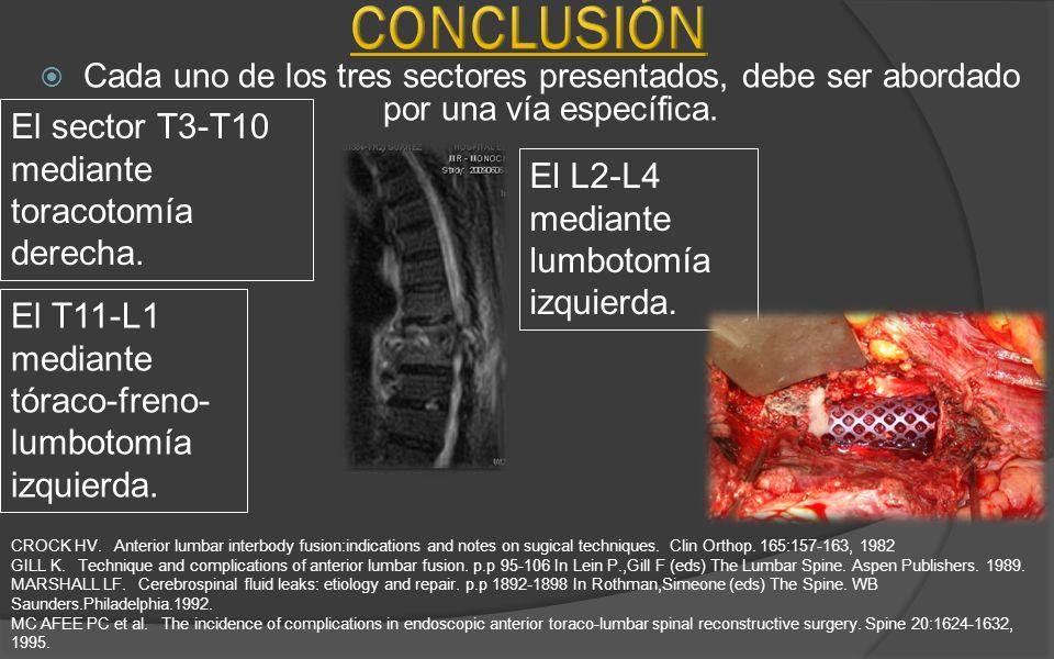 Conclusión El sector T3-T10 mediante toracotomía derecha.