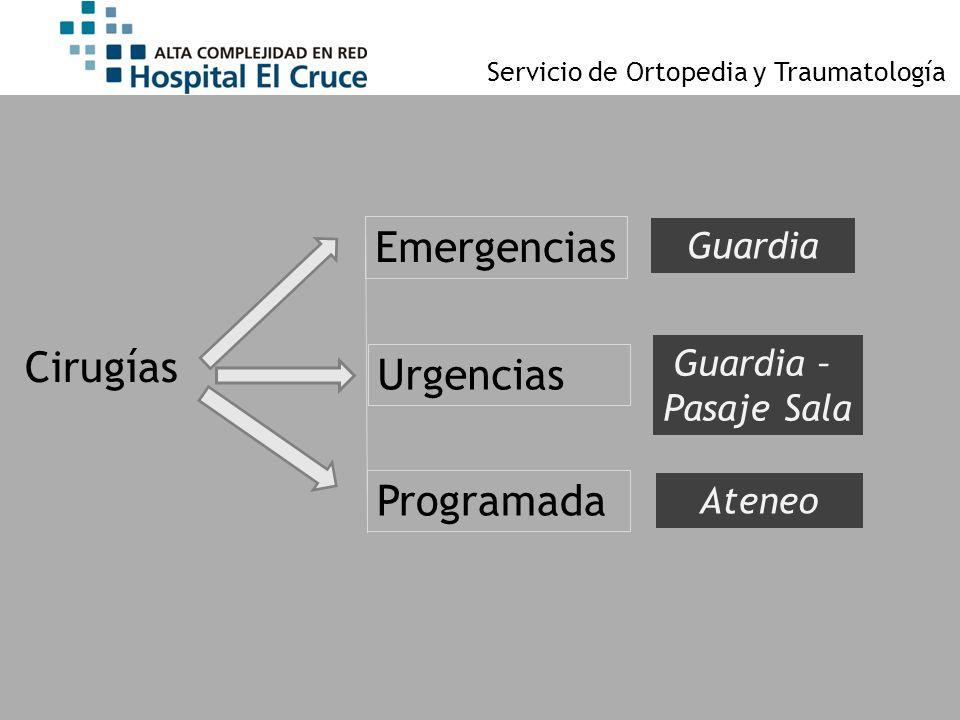 Emergencias Cirugías Urgencias Programada Guardia Guardia –