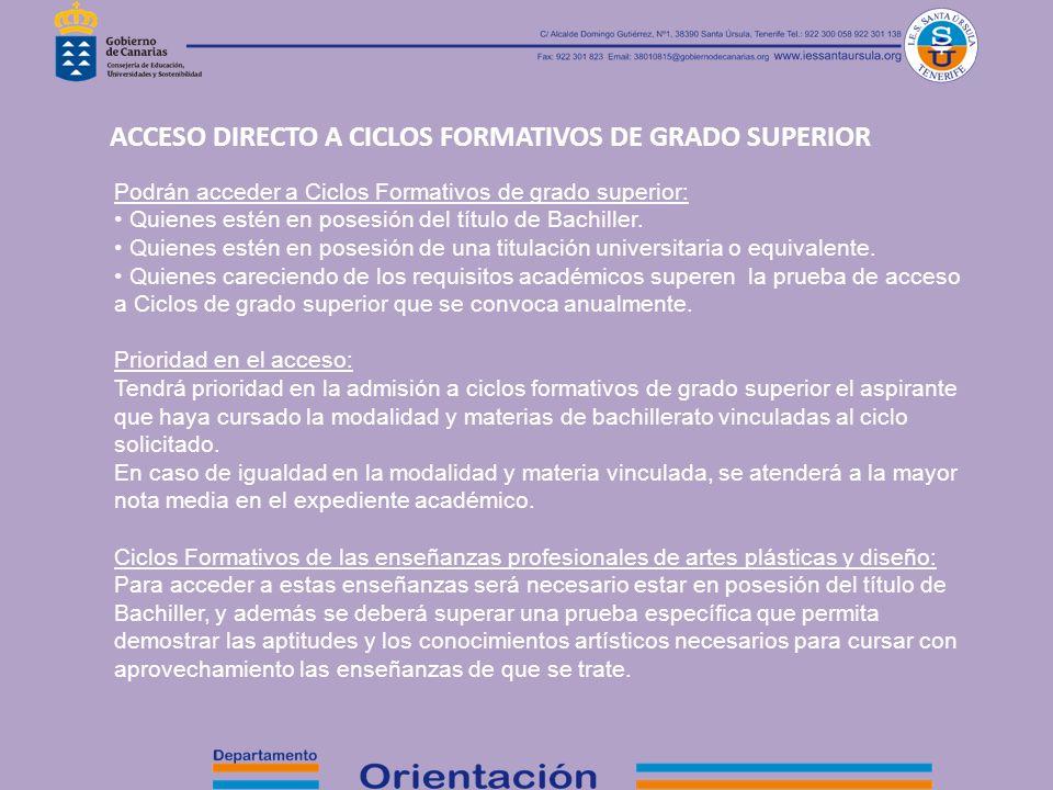 ACCESO DIRECTO A CICLOS FORMATIVOS DE GRADO SUPERIOR
