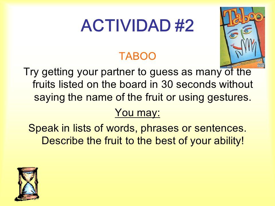 ACTIVIDAD #2 TABOO.