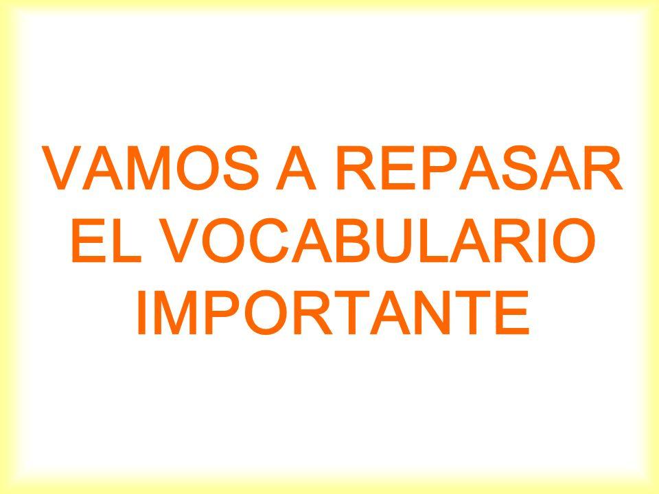 VAMOS A REPASAR EL VOCABULARIO IMPORTANTE