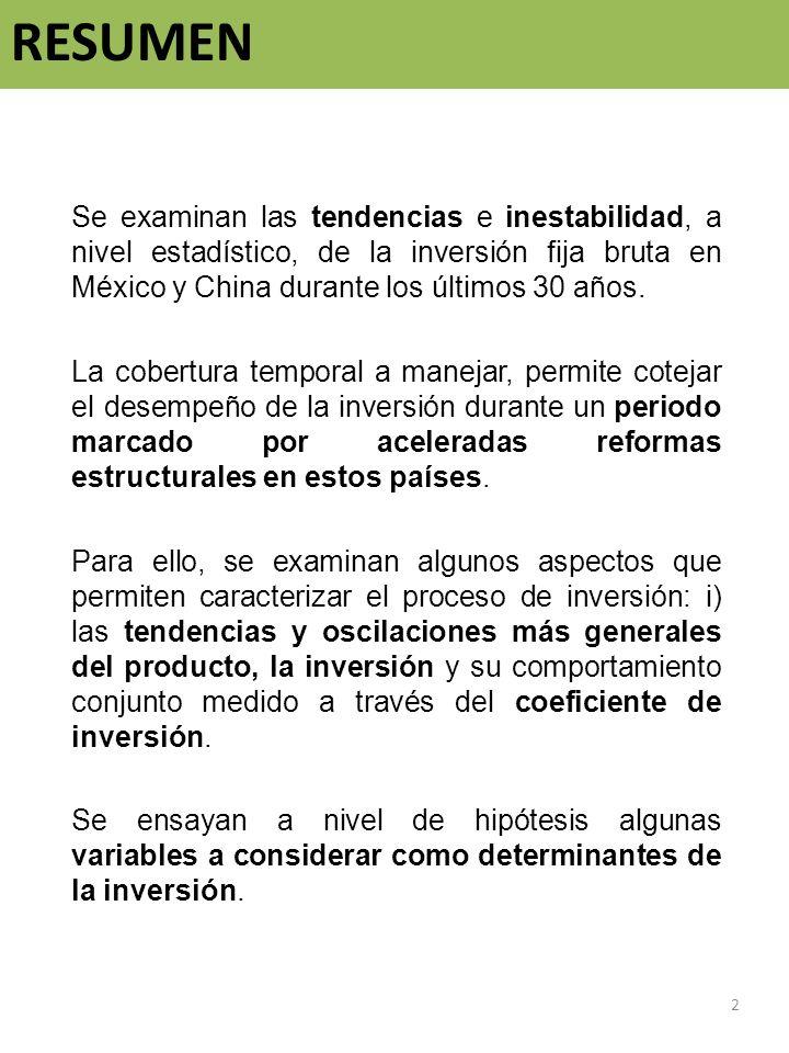 ResumenSe examinan las tendencias e inestabilidad, a nivel estadístico, de la inversión fija bruta en México y China durante los últimos 30 años.