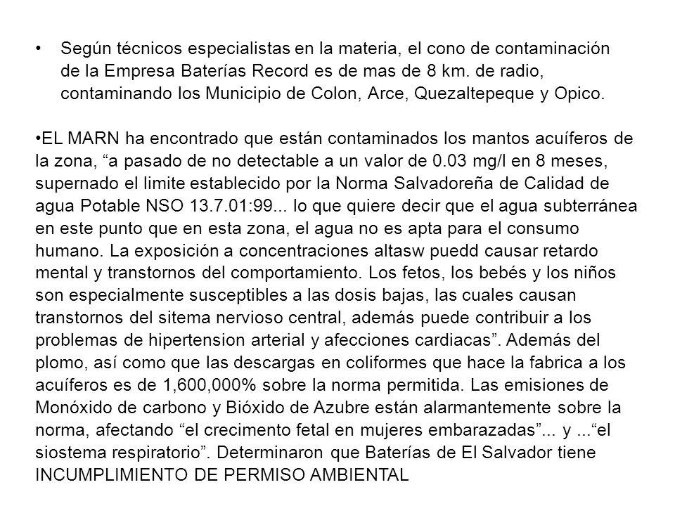Según técnicos especialistas en la materia, el cono de contaminación de la Empresa Baterías Record es de mas de 8 km. de radio, contaminando los Municipio de Colon, Arce, Quezaltepeque y Opico.
