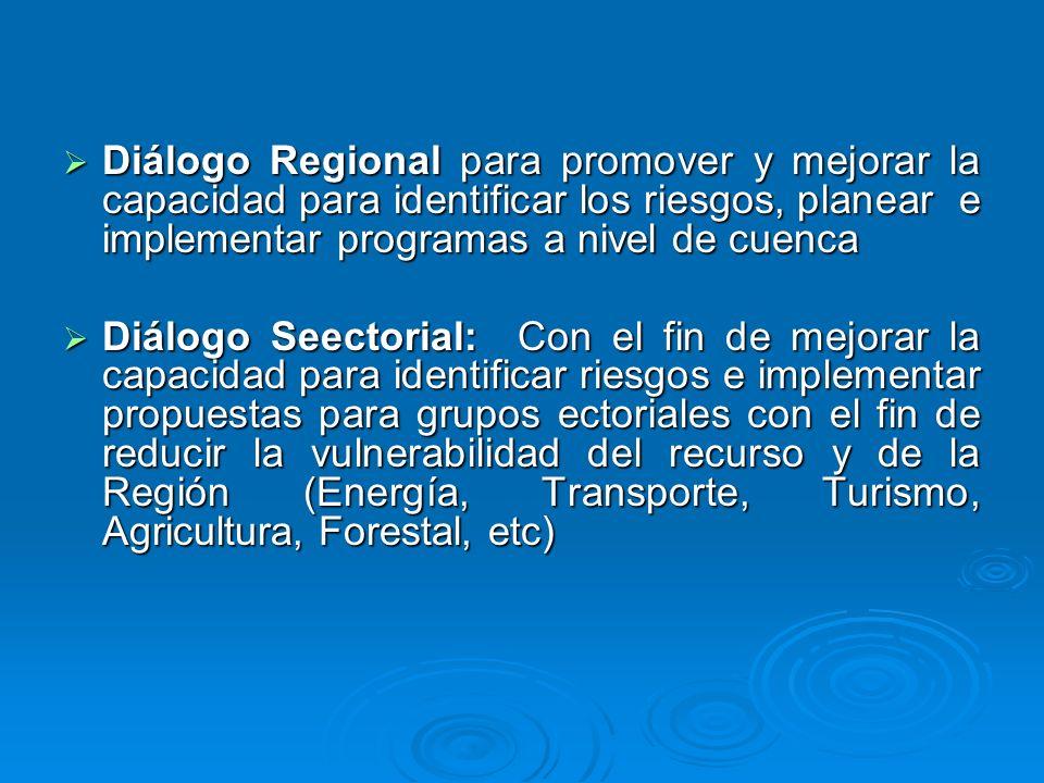 Diálogo Regional para promover y mejorar la capacidad para identificar los riesgos, planear e implementar programas a nivel de cuenca