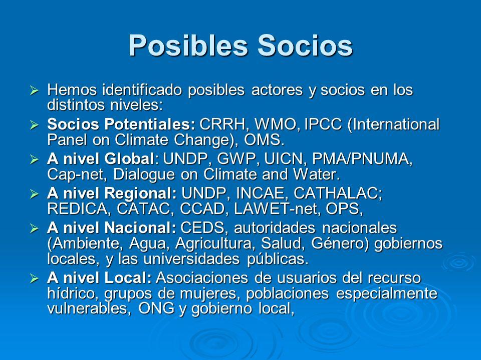 Posibles Socios Hemos identificado posibles actores y socios en los distintos niveles: