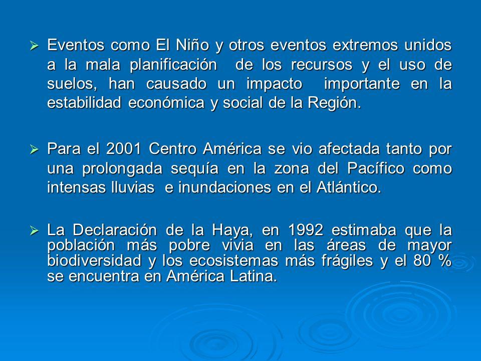 Eventos como El Niño y otros eventos extremos unidos a la mala planificación de los recursos y el uso de suelos, han causado un impacto importante en la estabilidad económica y social de la Región.