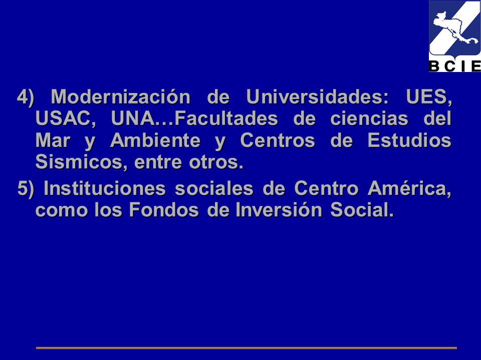 4) Modernización de Universidades: UES, USAC, UNA…Facultades de ciencias del Mar y Ambiente y Centros de Estudios Sismicos, entre otros.