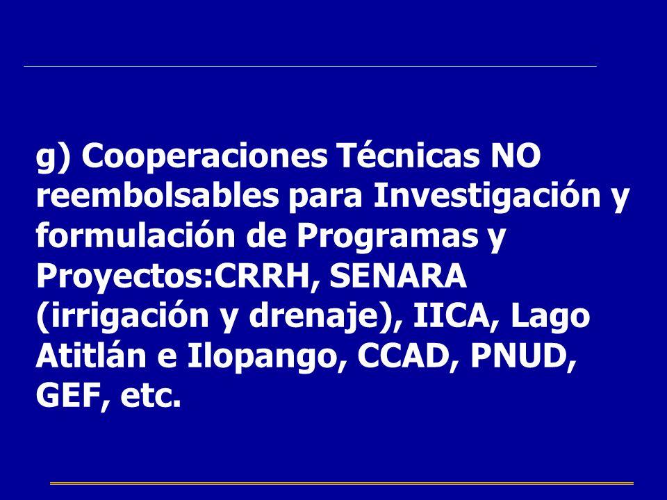 g) Cooperaciones Técnicas NO reembolsables para Investigación y formulación de Programas y Proyectos:CRRH, SENARA (irrigación y drenaje), IICA, Lago Atitlán e Ilopango, CCAD, PNUD, GEF, etc.