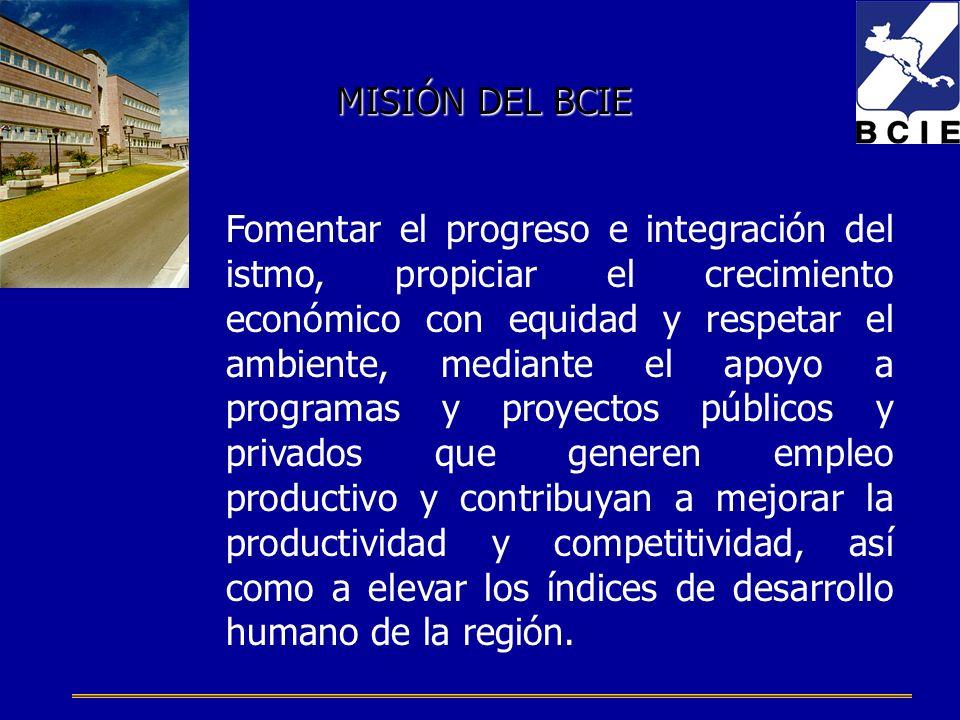 Fomentar el progreso e integración del istmo, propiciar el crecimiento económico con equidad y respetar el ambiente, mediante el apoyo a programas y proyectos públicos y privados que generen empleo productivo y contribuyan a mejorar la productividad y competitividad, así como a elevar los índices de desarrollo humano de la región.