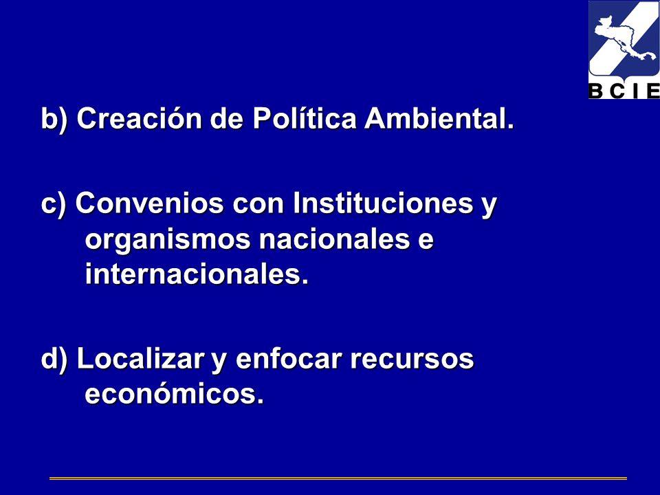 b) Creación de Política Ambiental.