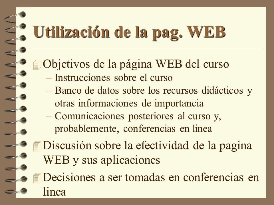 Utilización de la pag. WEB