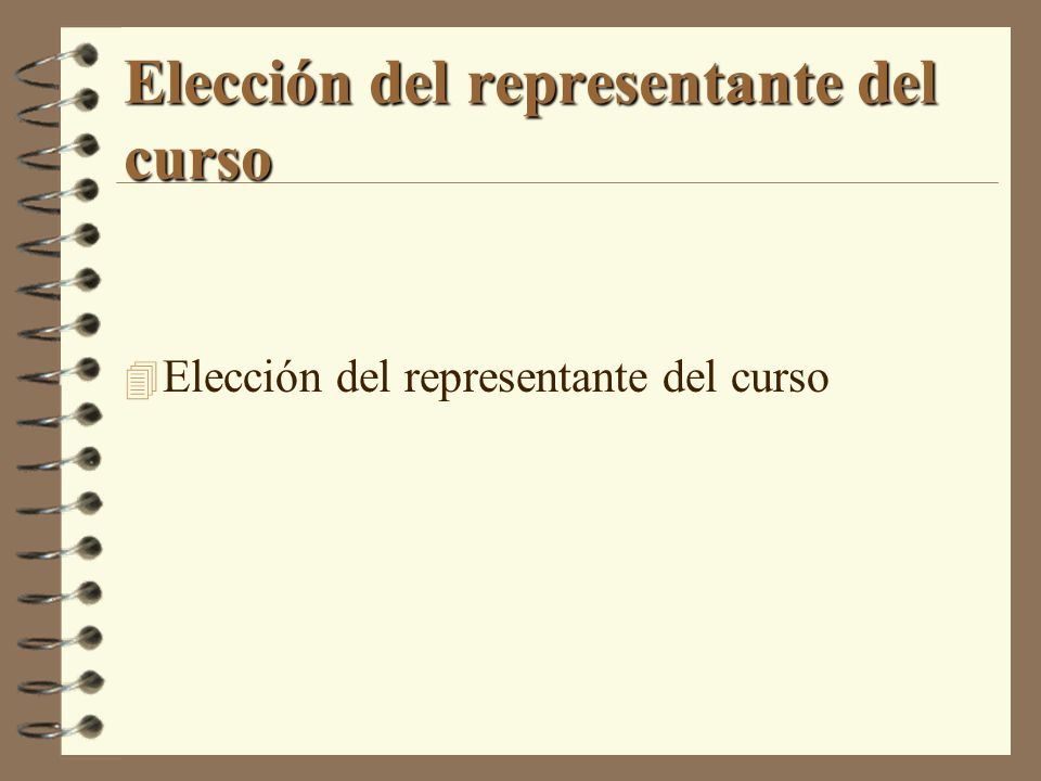 Elección del representante del curso