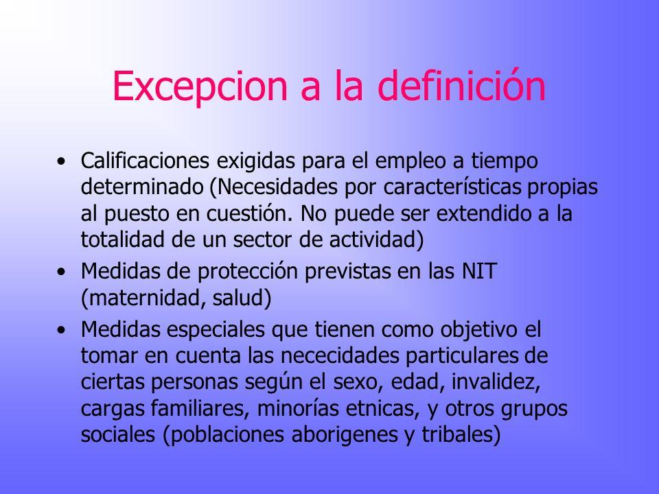 Excepcion a la definición