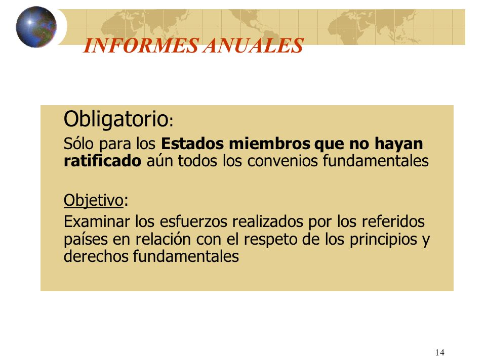 INFORMES ANUALES Obligatorio: