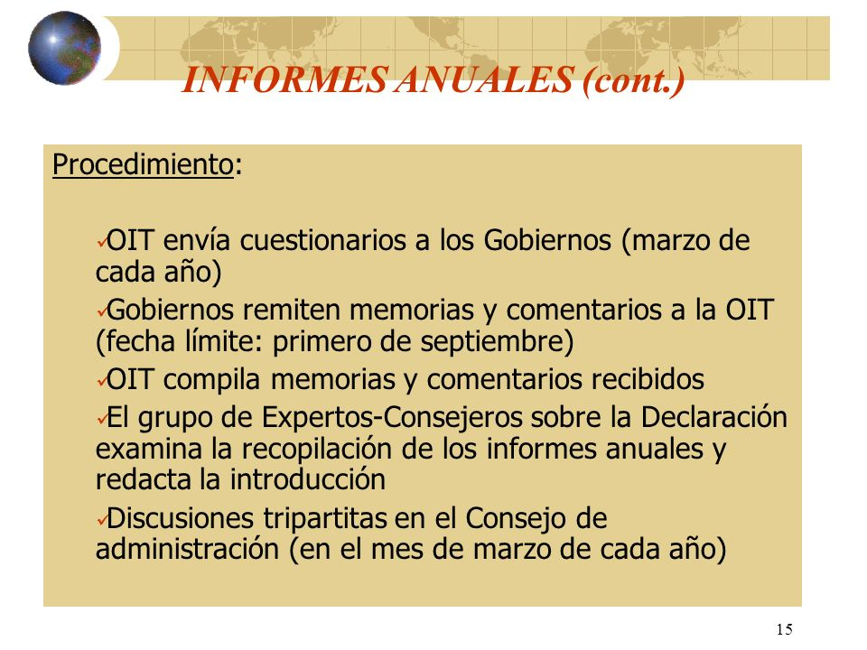 INFORMES ANUALES (cont.)