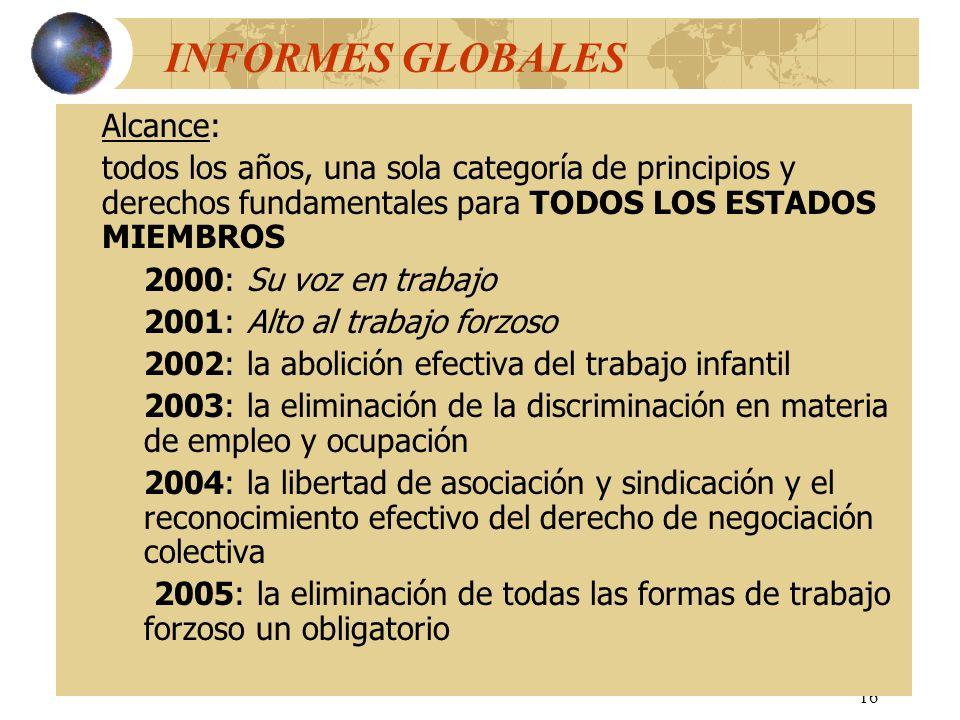 INFORMES GLOBALES Alcance: