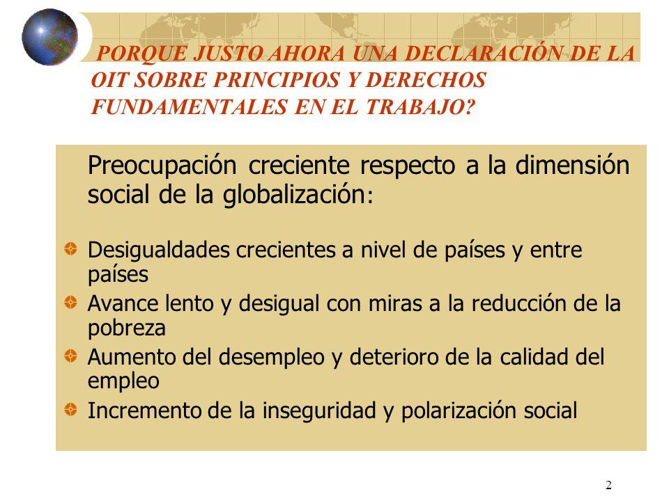 PORQUE JUSTO AHORA UNA DECLARACIÓN DE LA OIT SOBRE PRINCIPIOS Y DERECHOS FUNDAMENTALES EN EL TRABAJO